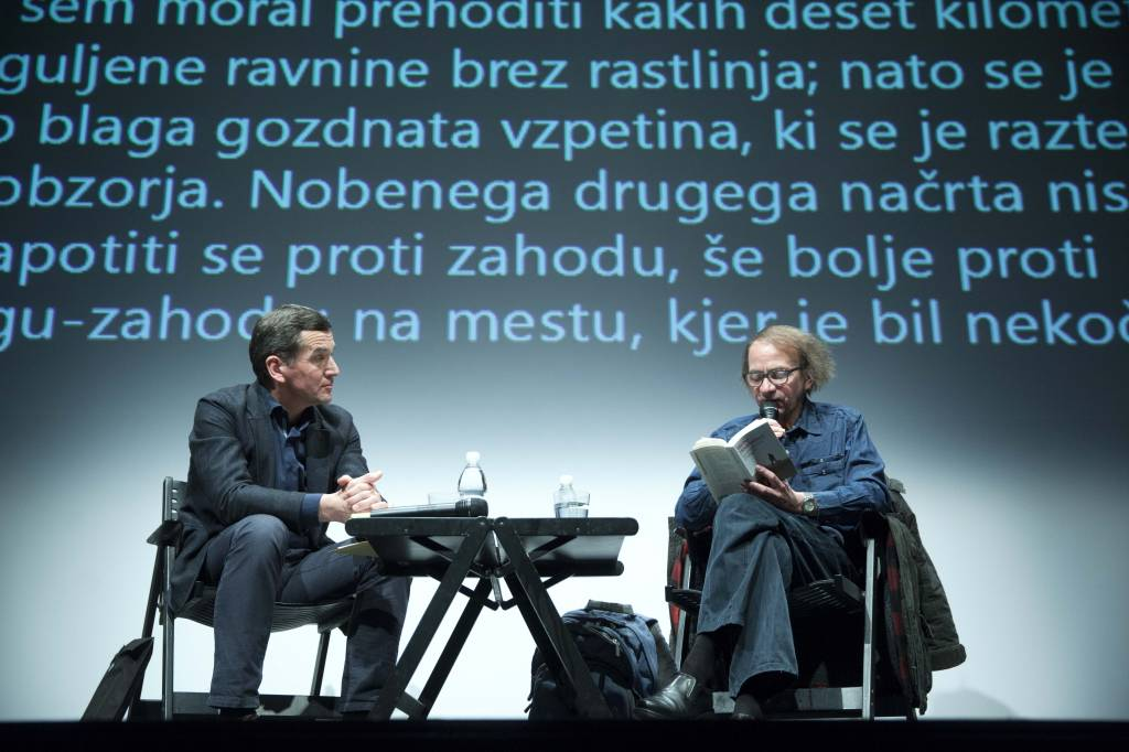 Stojan Pelko, Michel Houellebecq (foto: Borut Krajnc)